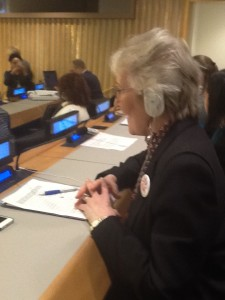 Annette delivering Margaret Owens statement CSW58
